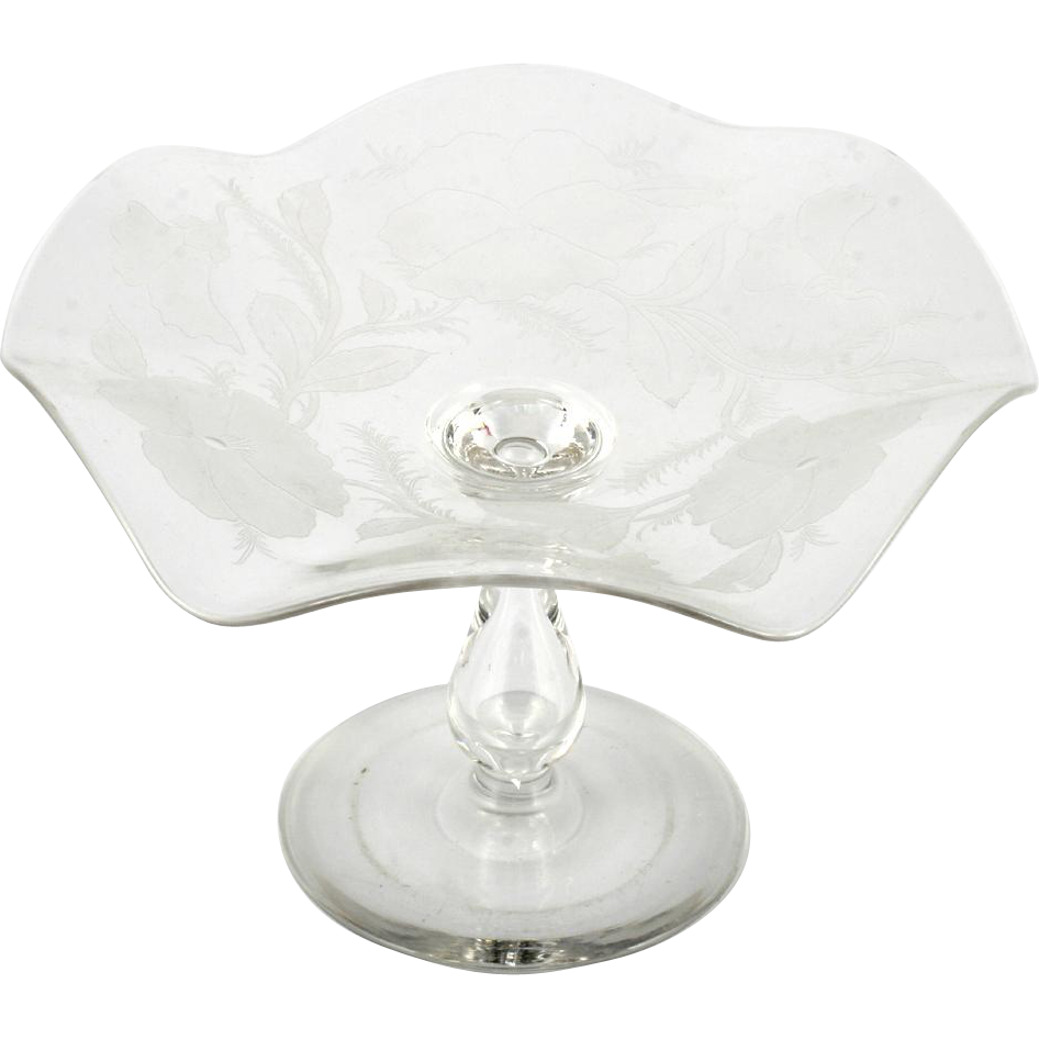 Dorflinger Kalana Cut Glass Compote Engraved Pansies Hollow Stem Antique Crystal
