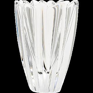 Orrefors Crystal Vase Fleur by Jan Johansson Vintage Scandinavian Art Glass