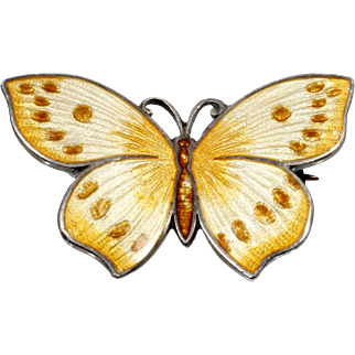 Thomae Company Yellow Butterfly Brooch Enamel on Sterling 1920s Vintage Jewelry