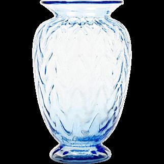 Fenton Blue Art Glass Vase Limited Edition Sculptured Ice Optics 1982