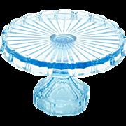Fostoria Coin Azure Blue Cake Stand Vintage Elegant Glass c 1960