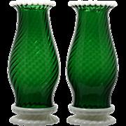 Fenton Glass Green Snowcrest Hurricane Lamps Pair Vintage 1950s Art Glass Candle Holder Emerald