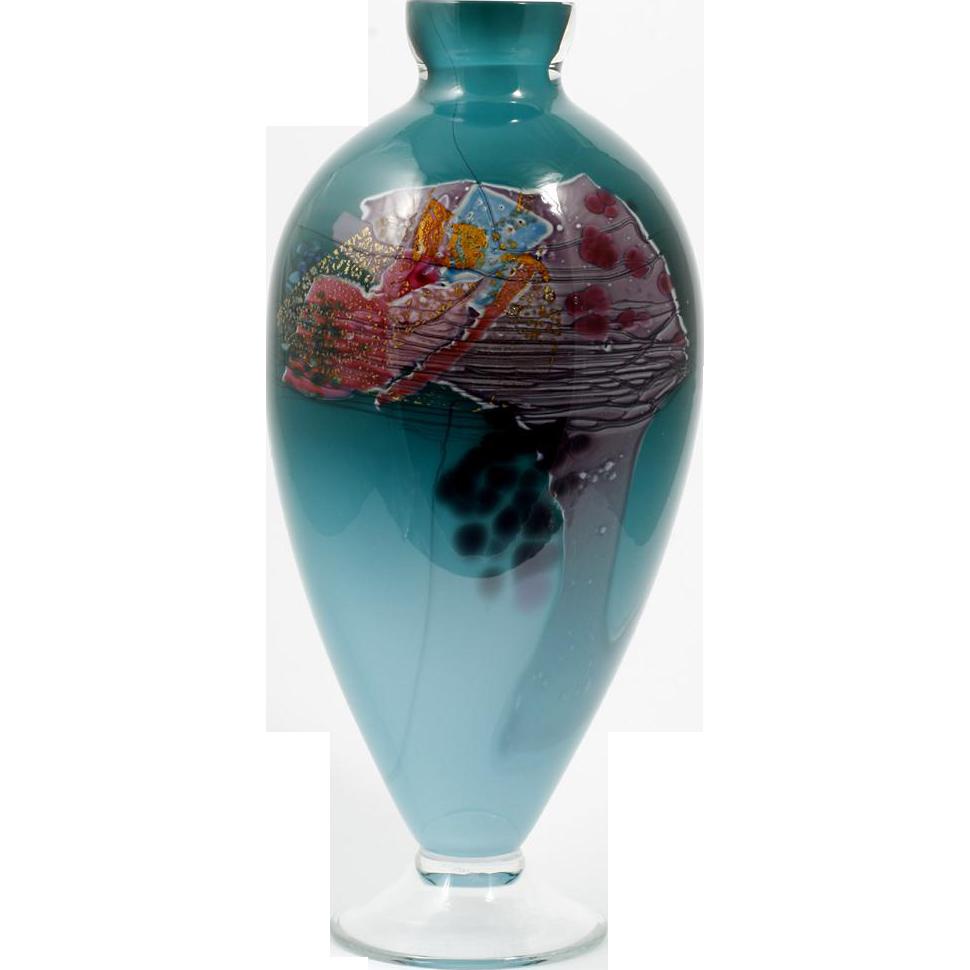 glasshouse studio green abstract vase vintage hand blown. Black Bedroom Furniture Sets. Home Design Ideas