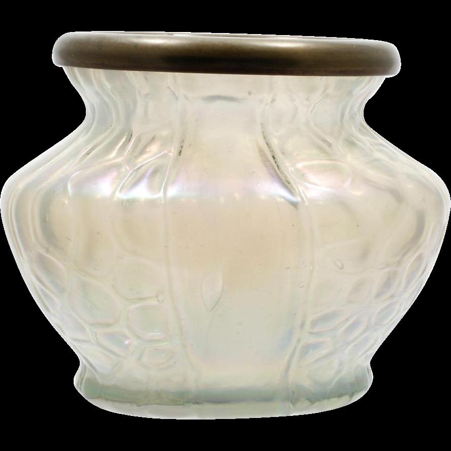 Kralik Honeycomb and Panel Vase Czechoslovakia Art Glass Vintage White Iridescent