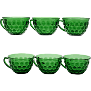 Hocking Glass Forest Green Bubble Cups Set of 6 Vintage 1940s Mid Century