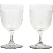 EAPG Beaded Grape Medallion Goblets Antique Boston Silver Glass Co 1870 Pair