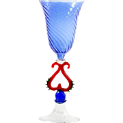 Cobalt Blue Art Glass Goblet Lamp Worked Red Stem Vintage Hand Blown