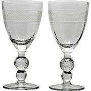 Morgantown Glass Golfball Water Goblets Cut Diamond Band Vintage 1930s Pair