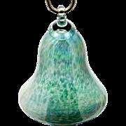 Glass Eye Studio Christmas Ornament Green Bell Shape Studio Art Glass