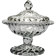 Fostoria Colony Crystal Covered Compote Elegant Glass Swirl Vintage 1940s