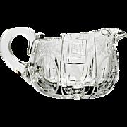 Hawkes American Brilliant Cut Glass Cream Pitcher Greek Key Medallion