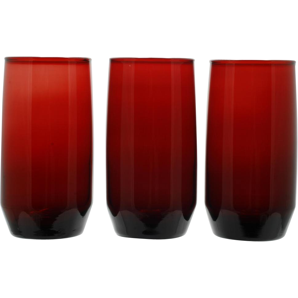 Anchor Hocking Royal Ruby Newport Tumblers Set of 3 Vintage Glass