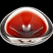 Orrefors Sven Palmqvist Ruby Glass Bowl Signed Vintage Swedish Art Glass Cased