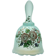 Fenton Green Bell Wild Rose Opalescent Art Glass Designer Series Ltd Ed