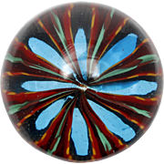 Murano Art Glass Paperweight Blue Red Green Flower Starburst Original Label