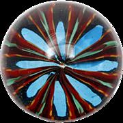 Murano Art Glass Paperweight Blue Red Green Flower Starburst Original Label