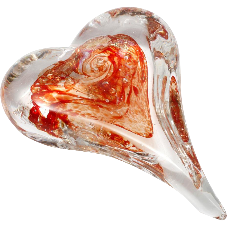Art Glass Heart Paperweight Red Crystal with Dichroic Aventurine Signed R in Shield