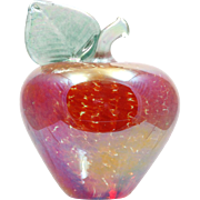 Mt St Helens Vines Paperweight Red Apple Vintage Iridescent Art Glass Hand Made