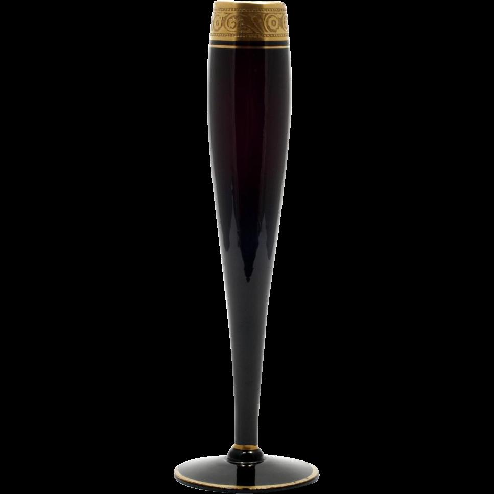 Black Amethyst Glass Bud Vase with Gold Encrusted Minton Etch Elegant Glass Vintage
