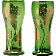Art Nouveau Bohemian Art Glass Vases Pair Emerald Green Gold Calla Lillies