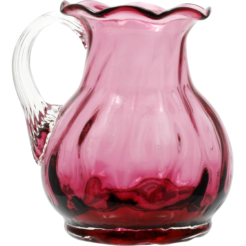 Pilgrim Art Glass Cranberry Miniature Pitcher Vase Dot Optic Signed