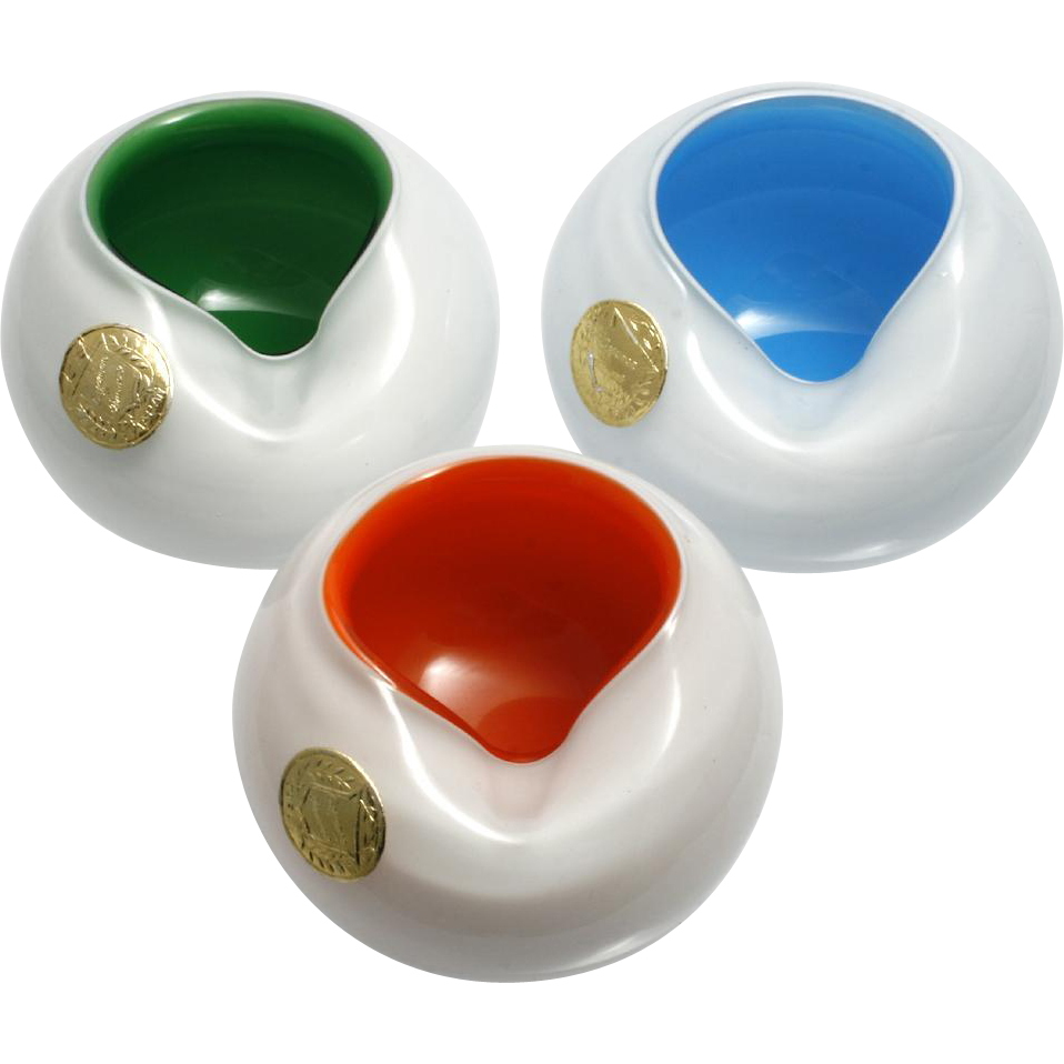 Individual Cased Glass Ashtrays Vintage Mid Century Modern Set 3 Made in Japan