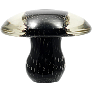Viking Art Glass Mushroom Paperweight Controlled Bubbles Black Amethyst and Crystal