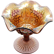 Imperial Carnival Glass Grape Compote Amethyst Vintage Art Glass