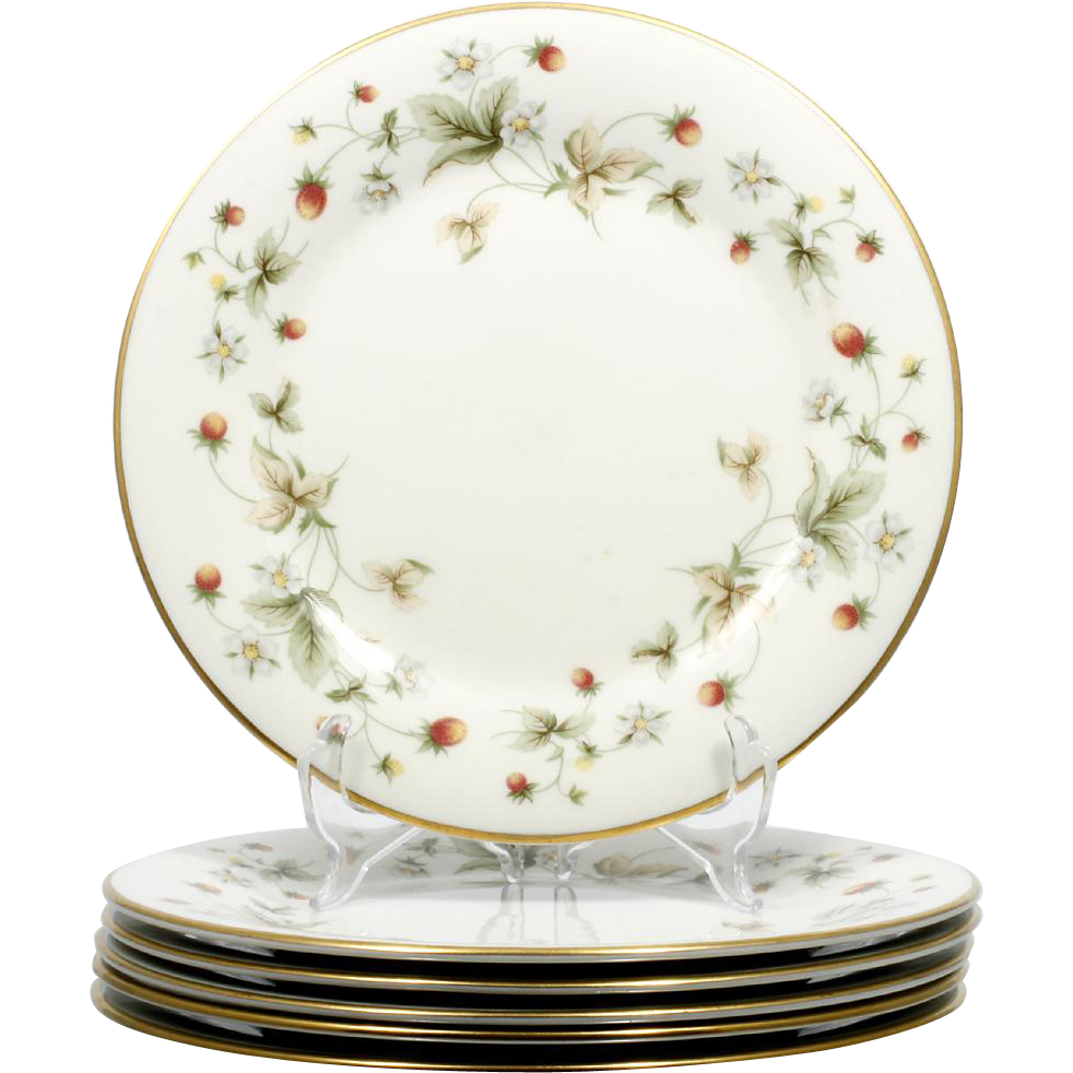 Royal Doulton Strawberries and Cream Dinner Plates Set 6 Vintage