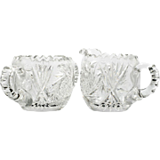 American Brilliant Cut Glass Cream and Sugar Bowl Matching Set Antique Victorian