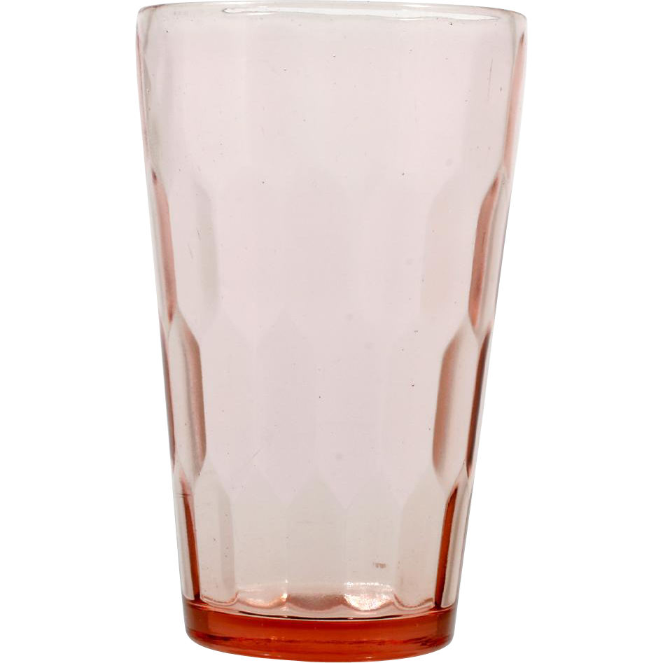 Jeannette Hex Optic Depression Glass Pink Tumbler Vintage 1930s Pressed