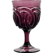 Amethyst Wedding Ring Goblet Fenton for LG Wright vintage 1960s Art Glass