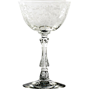 Fostoria Navarre Elegant Glass Champagne Vintage Etched Flowers 1930s
