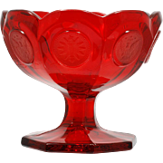 Fostoria Coin Ruby glass Compote Vintage Elegant Glass Frosted