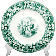 Wedgwood Ferrara Green Transfer ware Plate Vintage English Porcelain Castle Antique 1880s