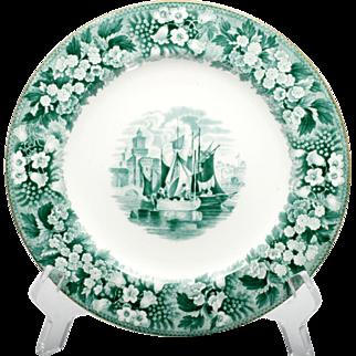 Wedgwood Ferrara Green Transfer ware Plate Vintage English Porcelain Castle Antique 1880s