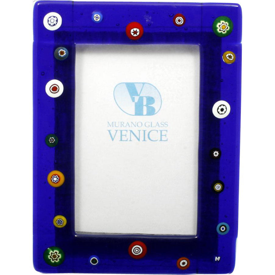 Murano Art Glass Picture Frame Cobalt Blue with Millefiori Canes Hand Made Italy