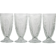 Jeannette Iris and Herringbone Depression Glass Footed Tumblers Set of Four Vintage