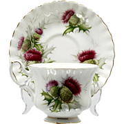 Royal Albert Highland Thistle Cup and Saucer Vintage British Bone China Scotland