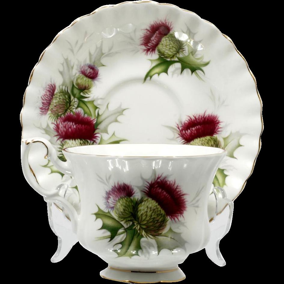 Royal Albert Highland Thistle Cup and Saucer Vintage British Bone China Scotland