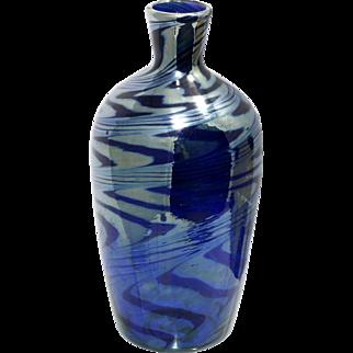 Iridescent Blue Art Glass Vase Hand Blown Studio Glass Cobalt Blue
