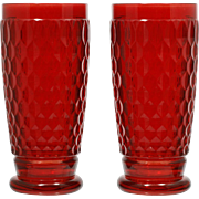 Villeroy and Boch Boston Glass Highball Tall Tumbler Honeycomb Pair Ruby