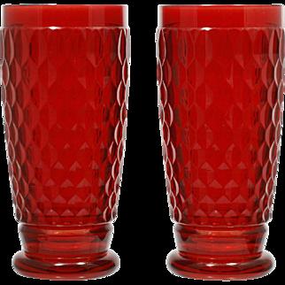 Villeroy and Boch Boston Glass Highball Tall Tumbler Honeycomb Pair Ruby