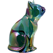 Fenton Green Carnival Glass Cat Figurine Vintage 1980s Art Glass American