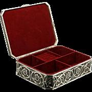 Godinger Silver Plate Jewelry Box Large Ornate Flowers Velvet Lining Gift Casket