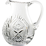 Cut Crystal Water Pitcher Hobstars and Fans Elegant Glass European Vintage