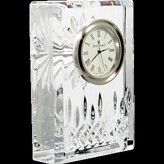 Waterford Lismore Crystal Clock Hand Cut Irish Art Glass Signed