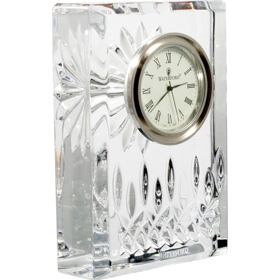 Waterford Lismore Crystal Clock Hand Cut Irish Art Glass Signed