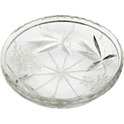 Hawkes American Brilliant Cut Glass Bowl Antique Engraved Flowers and Leaves Signed