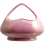 Pink Czechoslovakia Art Pottery Basket Vintage Home Decor 1930s Luster